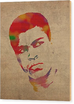 Muhammad Ali Watercolor Portrait On Worn Distressed Canvas Wood Print by Design Turnpike