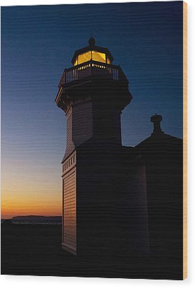 Wood Print featuring the photograph Mukilteo Light House Sunset by Sonya Lang