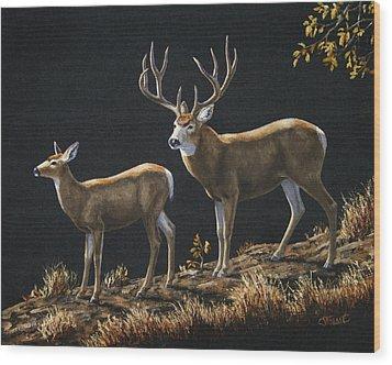 Mule Deer Ridge Wood Print by Crista Forest