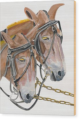 Wood Print featuring the painting Mules - Two - Beast Of Burden by Jan Dappen