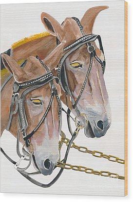 Mules - Two - Beast Of Burden Wood Print by Jan Dappen