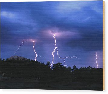 Multi Arc Lightning Strike Wood Print