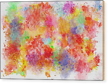 Multi Colored Ditgital Abstract 4 Wood Print by Debbie Portwood