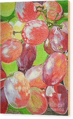 Multi Coloured Grapes Wood Print by Yvonne Johnstone