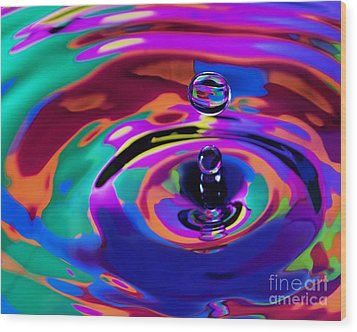Multicolor Water Droplets 1 Wood Print by Imani  Morales