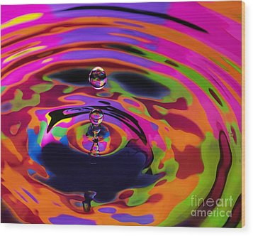 Multicolor Water Droplets 2 Wood Print by Imani  Morales