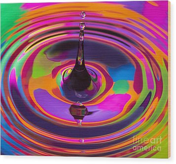 Multicolor Water Droplets 3 Wood Print by Imani  Morales