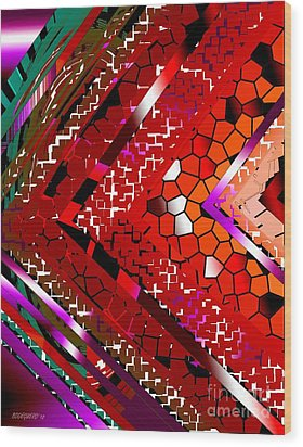 Multicolored Abstract Art Wood Print by Mario Perez