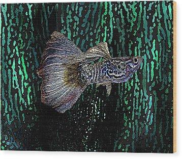 Multicolored Tropical Fish In Digital Art Wood Print by Mario Perez