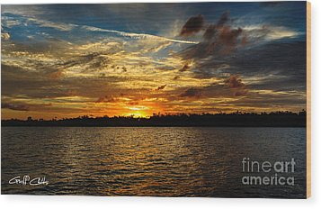Multicolour At Sea - Sunset Wood Print by Geoff Childs