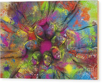 Multicoloured Boys Wood Print by Tim Gainey
