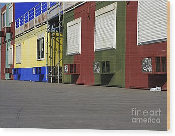 Multicoloured Facades With Air-conditioners Wood Print by Sami Sarkis