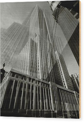 Multiple Exposure Of The Empire State Building Wood Print by Edward Steichen