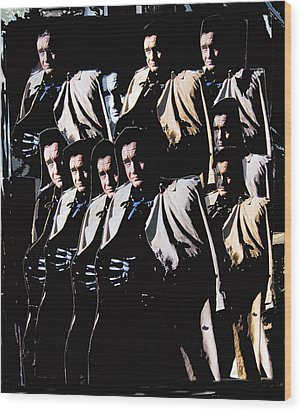 Wood Print featuring the photograph Multiple Johnny Cash In Trench Coat 1 by David Lee Guss