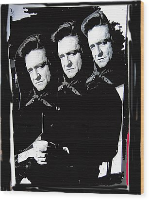 Wood Print featuring the photograph Multiple Johnny Cash Sitting Old Tucson Arizona 1971-2008 by David Lee Guss