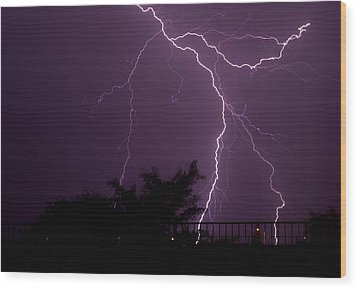 Multiple Lightning Strikes In Casa Grande Arizona Wood Print by Chris Spangler