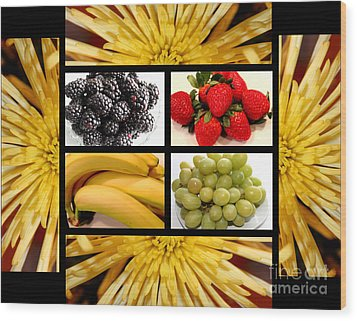 Mums Fruit Collage Wood Print by Barbara Griffin