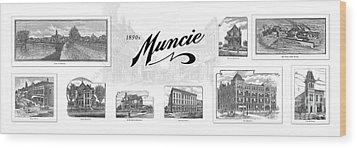 Muncie Indiana B Wood Print by Thomas Keesling