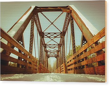 Wood Print featuring the photograph Munger Trail Crossing by Mark David Zahn