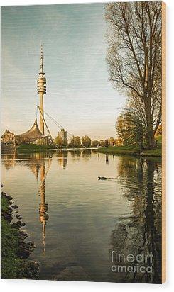 Munich - Olympiapark - Vintage Wood Print by Hannes Cmarits