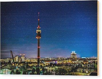 Munich City Nights - Olympiapark Wood Print by Hannes Cmarits
