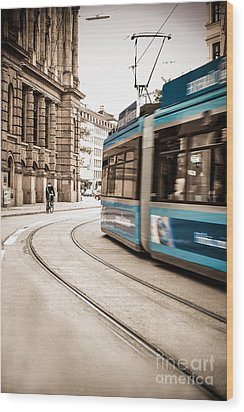 Munich City Traffic Wood Print by Hannes Cmarits