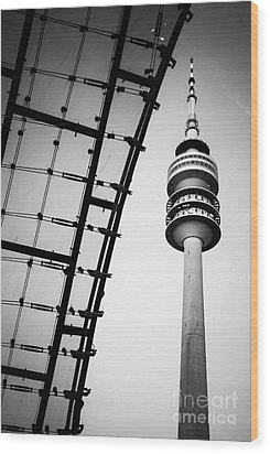 Munich - Olympiaturm And The Roof - Bw Wood Print by Hannes Cmarits