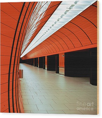 Munich Subway I Wood Print by Hannes Cmarits