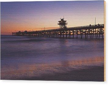 Municipal Pier At Sunset San Clemente Wood Print by Richard Cummins