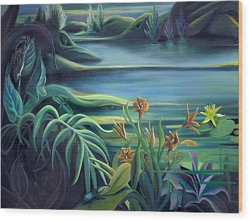 Mural Bird Of Summers To Come Wood Print by Nancy Griswold