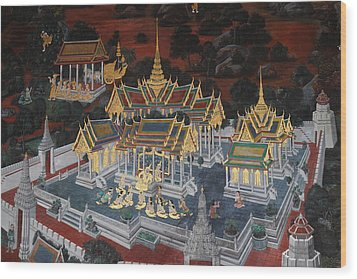 Mural - Grand Palace In Bangkok Thailand - 01131 Wood Print by DC Photographer