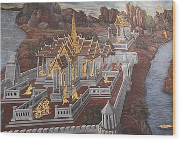 Mural - Grand Palace In Bangkok Thailand - 01135 Wood Print by DC Photographer