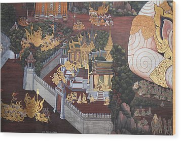 Mural - Grand Palace In Bangkok Thailand - 01139 Wood Print by DC Photographer