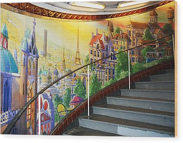 Mural In The Paris Metro Wood Print by Kathy Yates