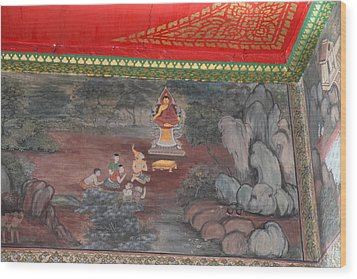 Mural - Wat Pho - Bangkok Thailand - 01134 Wood Print by DC Photographer