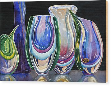 Wood Print featuring the painting Murano Crystal by Roger Rockefeller