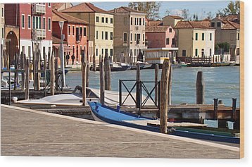 Murano Dock Wood Print by Walter Fahmy