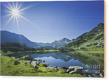 Muratov Lake Against Blue Sky Wood Print by Evgeny Kuklev