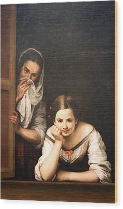 Murillo's Two Women At A Window Wood Print