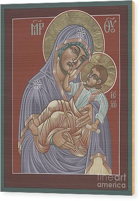 Wood Print featuring the painting Murom Icon Of The Mother Of God 230 by William Hart McNichols