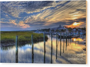 Murrells Inlet Sunset 1 Wood Print by Mel Steinhauer