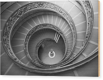 Wood Print featuring the photograph Musei Vaticani Stairs by Nathan Rupert