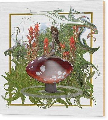 Mushroom Fairy Wood Print by Jennifer Schwab
