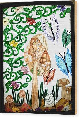 Mushroom Hunt Wood Print by Linda Egland