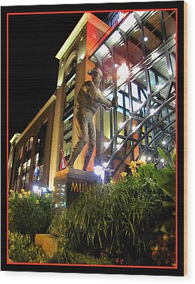 Musial Statue At Night Wood Print