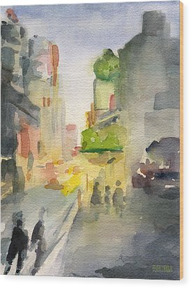 Music Box Theater Times Square Watercolor Painting Of New York Wood Print by Beverly Brown Prints