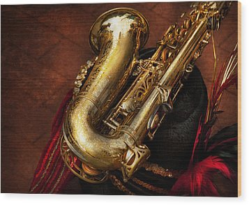 Music - Brass - Saxophone  Wood Print by Mike Savad