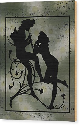 Wood Print featuring the digital art Music Daisies And Silhouette by Sandra Foster