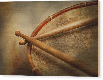 Music - Drum - Cadence  Wood Print by Mike Savad