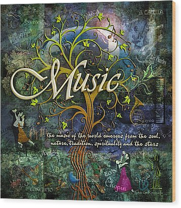 Music Wood Print by Evie Cook